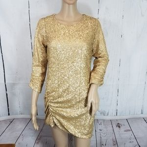 Anthro Heartloom Medium Gold Sequin Ruched Dress